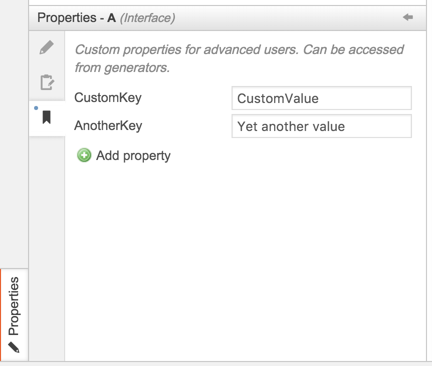 Screenshot of the custom properties panel