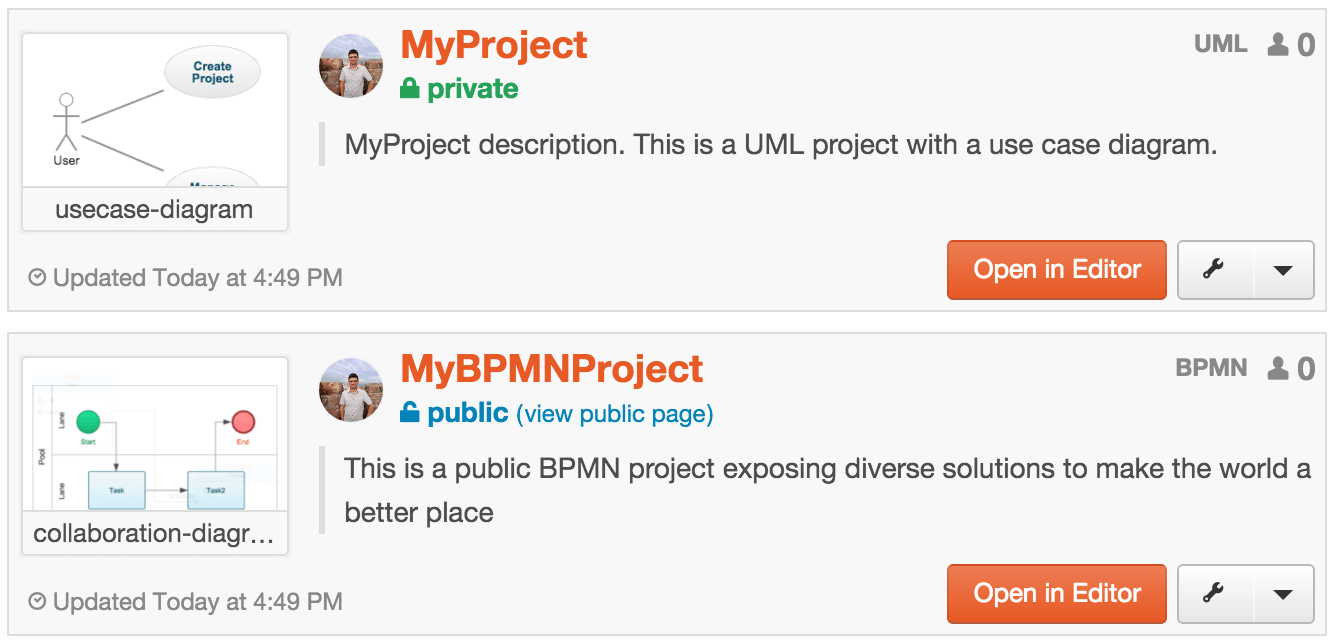 Project list with UML and BPMN after