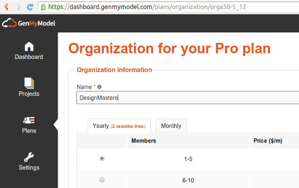 create organization genmymodel